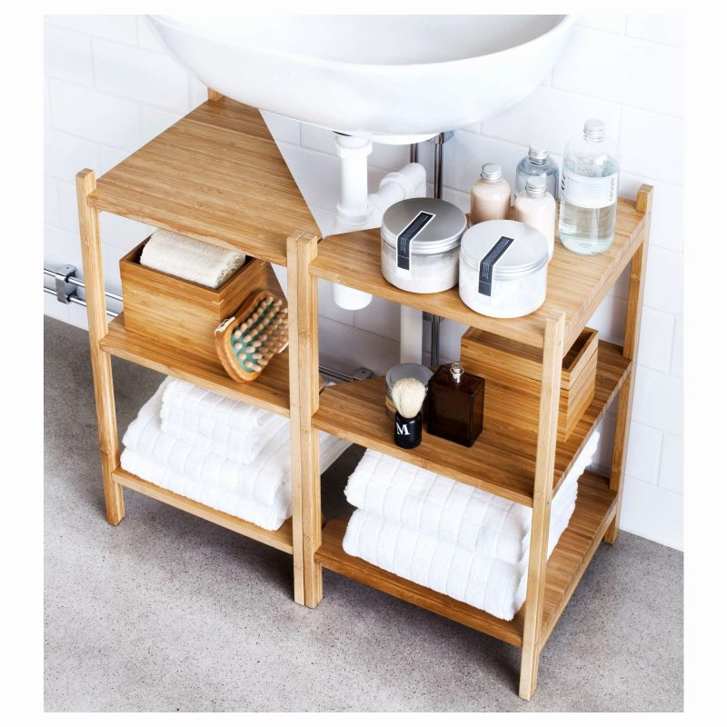 pedestal sink storage using open rack